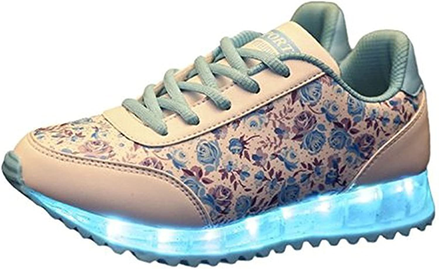Sexphd LED Light Up Floral Pattern Lace Up Trainers Luminous shoes Sneakers