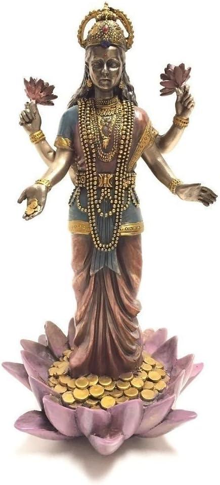 Lakshmi Hindu Goddess on Sculpture Lotus Max 78% OFF Statue Super sale period limited