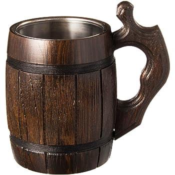 Handmade Beer Mug Oak Wood Stainless Steel Cup Natural Eco-Friendly 0.6 liters 20 ounces Barrel Brown