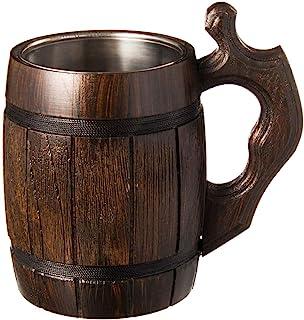 MyFancyCraft Handmade Beer - Mug Oak - Wood Dark Natural - Eco-Friendly Wooden Tankard Gift Barrel - Cup