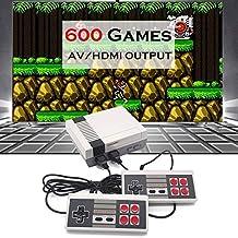 Jhana Mini console de jeu rétro 8 bits, prise en charge HDMI / AV, 600 jeux, lecteur de jeu portable, contrôleur 9 broches...