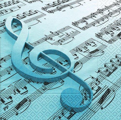 20 Servietten Music is The Key – Musik ist der Schlüssel/Notenschlüssel/Noten 33x33cm