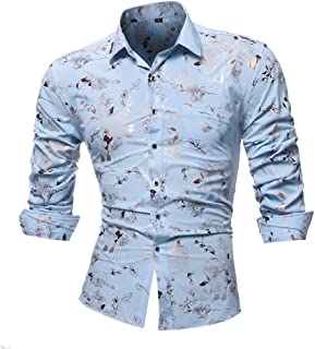 lcky Men's Floral Shirt Long Sleeve Casual Slim Buttoned Shirt