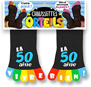 SUD Calcetines Cinco Dedos cumpleaños Negras, Chaussettes Orteils Noires 50 ANS, Talla única
