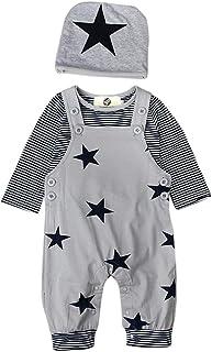 T TALENTBABY Prämie Reine Baumwolle Set Kleidung, Neugeborenes Baby Strampler Star Kleidung Sets, Hosen Tops Hut Cute Jumpsuit Outfit Body, Grau