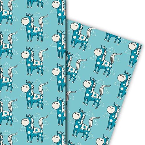 Leuke western cadeaupapierset (4 vellen), decoratiepapier, papier om in te pakken voor kinderen met Indiaans paard, lichtblauw, voor leuke cadeauverpakking en verrassingen 32 x 48 cm