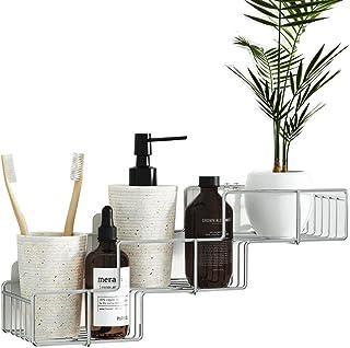 Bathroom Storage Shower Rack, Trapezoid Stainless Steel Shelf Organizer for Shampoo No Drilling No Holes Removable Adhesiv...