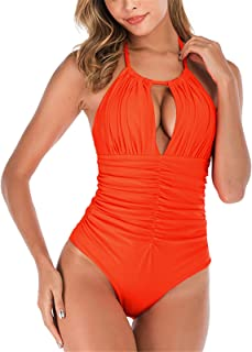 Thenxin Womens Vintage One Piece Swimsuit Halter Cut Out Ruched Monokini Bathing Suit Swimwear