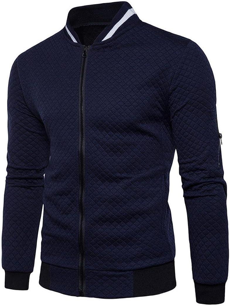 Easytoy Mens' Long Sleeve Solid Cardigan Full Zipper Sweatshirt Jacket Coat