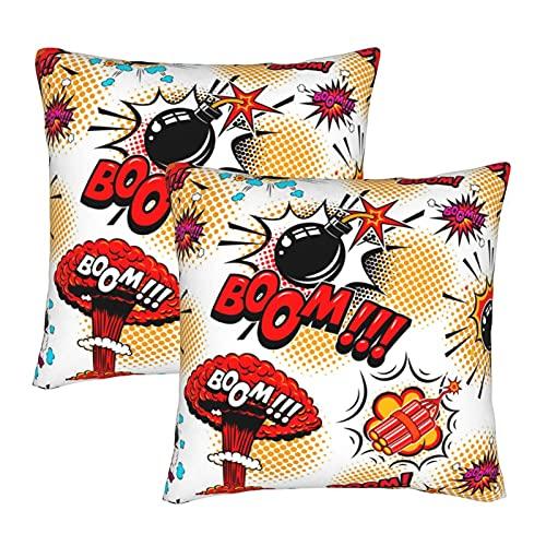 EASSEN Pop Art Bomb Boom - Fundas de cojín decorativas cuadradas para sofá, decoración del coche, 45,7 x 45,7 cm, juego de 2