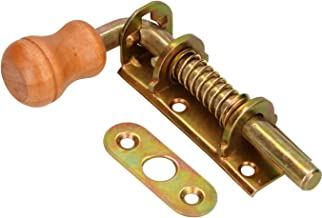 KOTARBAU Veergrendel 100 mm boutgrendel deurgrendel grendelgrendel verzinkt roestvrij houten handvat weerbestendig met ver...