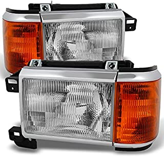 For Ford Bronco F150 F250 F350 F450 Pickup Truck Clear Headlights Replacement Driver + Passenger Pair