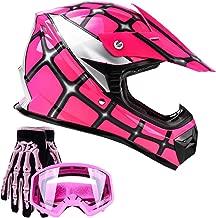 Typhoon Youth Kids Offroad Gear Combo Helmet Gloves Goggles DOT Motocross ATV Dirt Bike Spiderman Pink, X-Large