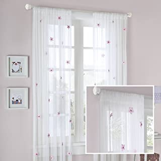 White Sheer Curtains For Bedroom, Modern Contemporary Window Curtain 84 inches Long , Lily Floral Rod Pocket Pink Sheer Curtain , 52X84