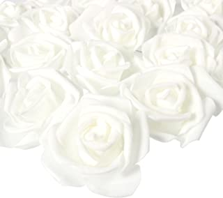 Juvale White Artificial Roses for Crafts, Weddings, and Decor (3 x 1.25 in, 100-Pack)