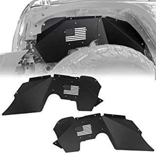 Steel Front Inner Fender Liners with US Flag Style Compatible with Wrangler JK & JKU, Textured Black Powder Coating Wheel Cover