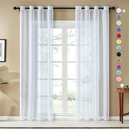 Topfinel 2er Set Transparent Weinrot-Wei/ß-Streifen Voile Gardinen mit Kr/äuselband Dekoration Vorh/änge F/ür Kinderzimmer,140x235cm