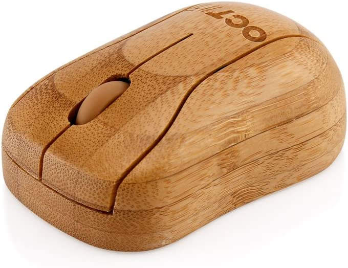 Oct17 Bamboo Wireless Optical Mouse, Fashionable Natural Wooden Wood Mice with USB Receiver for PC, Laptop, Computer, Notebook, MacBook