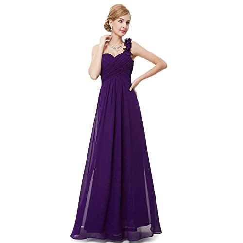 05e60e42588 Ever-Pretty Flower One Shoulder Empire Waist Floor Length Bridesmaids Dress  09768