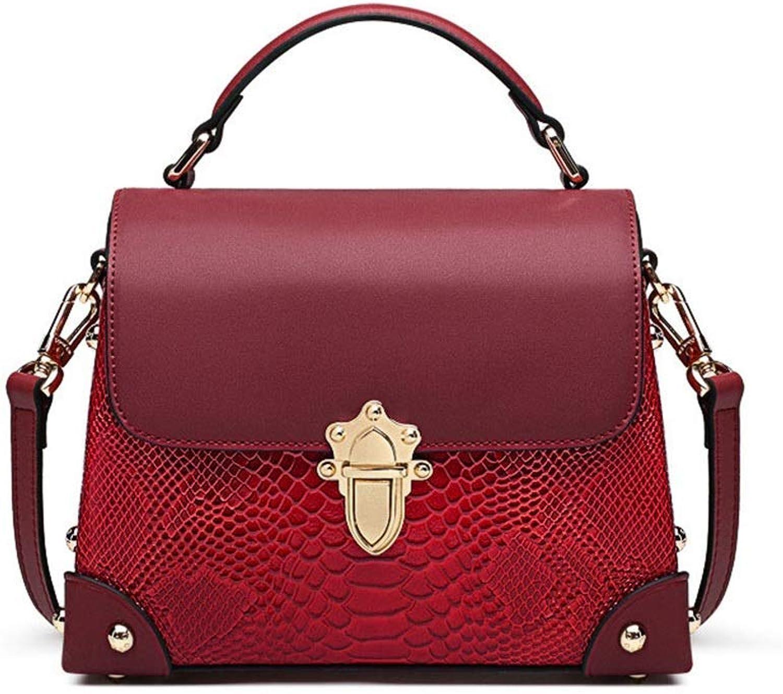 Ladies Handbag Women's Tote Bag Leather Bag Fashion Buckle Shoulder Crossbody Bag (color   A, Size   21cm9.2cm16cm)