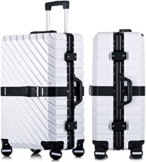 SMLCTY Lightweight Suitcases,hand Luggage Flight Bags,ABS+PC Waterproof and Breathable 4 Round Mute Caster Large Capacity Password Lock Travel Trolley Case (Color : White, Size : 24 inch)