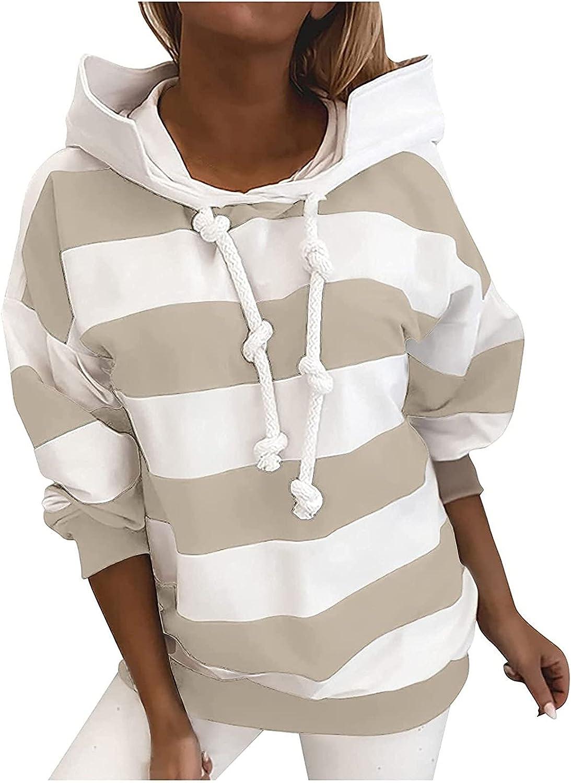 Women's Hooded Pullover Stars Stripes Print Drawstring Hoodies Long-Sleeved Sweatshirt Casual Blouse Tops