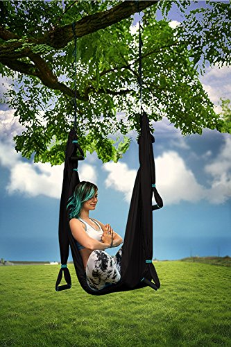 Aerial Yoga Hammock Daisy Chains - Yoga Swing Rope - Yoga Hanging Trapeze Extension Straps - Height Adjustable Nylon Chain Best for Antigravity Yoga Inversion - Home Indoor Outdoor Mount Ropes (black)