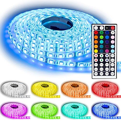 NINETEC Flash60 5m RGB LED Strip mit 60LED/m Wasserdicht IP65 und 44 Key Fernbedienung Farbwechsel Dimmbar[Energieklasse A]