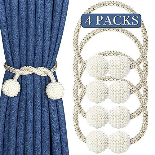 Curtain Tie Backs with Super Strong Magnetic Tie Backs for Curtains 4 Pack, Tie Back No Drilling Required, Fashion Curtain Rope Holdbacks Suitable for Home, Office, Hotel, Store Decorative. (Beige)