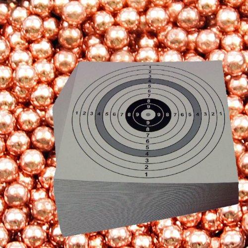 2500 H&N verkupferte Luftgewehr Punktkugeln Kaliber 4,40 mm im Beutel + 10 ShoXx.® Shoot-Club Zielscheiben 14x14 cm mit zusätzlichen grauen Ring und 250 g/m² - ShoXx.® Set