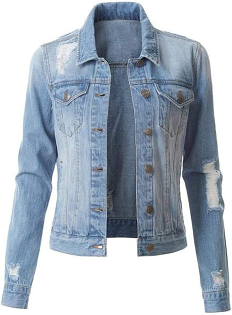 Alilyol 2021 New Womens Washed Basic Button Down Stretch Fitted Cropped Long Sleeve Outerwear Denim Jean Jacket