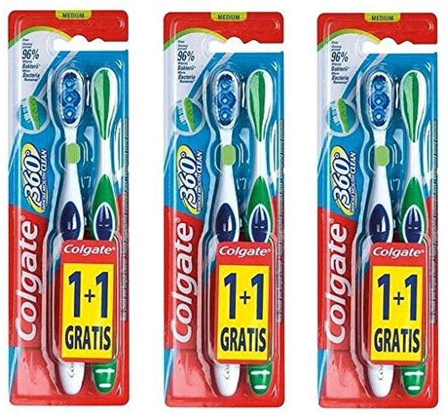 哺乳類ブル箱Colgate 360 Whole Mouth Clean コルゲート 歯ブラシ 6個 (2 x 3) [並行輸入品]