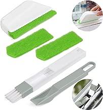 FOCCTS 3PCS 2 in1 Ventana Brecha Espacio Ranura Corner Cleaning Dustpan Brushes con Esponjas Extraíbles para Orificios de Ventana del Teclado Coche