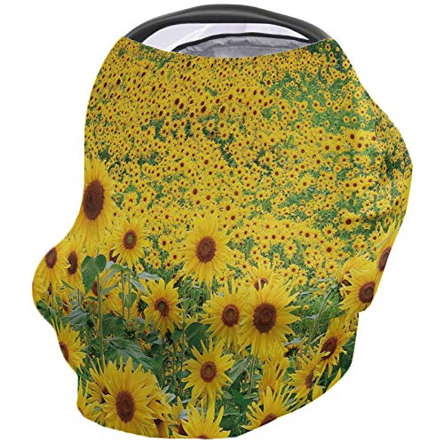 New Sunflowers Farmland Nursing Cover for Baby Breastfeeding, Soft Breathable Stretchy Carseat Canop...