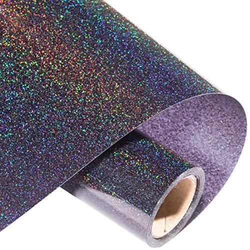 Eygoo Black Glitter Iron on Vinyl for T-Shirts,10in x 5ft Glitter Vinyl Heat Transfer, Giltter Heat Transfer Vinyl Roll for Cricut, Easy to Cut & Weed DIY Glitter HTV Vinyl (Galaxy Black)