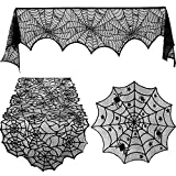 Blulu 3 Pieces Halloween Lace Spiderweb Tablecloth Fireplace Mantle Table Runner Round Spider Web Table Cover Topper for Halloween Home Party Decor (Style Set 1, Size Set 1)