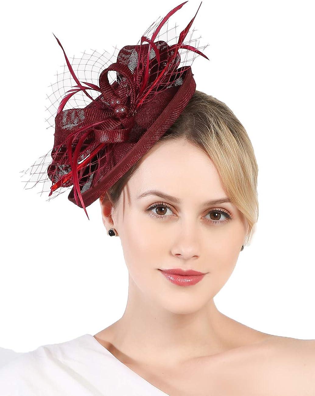 Fascinators Hat for Women Tea Party Headband Kentucky Derby Wedding Bridal Headband Clips Headpiece