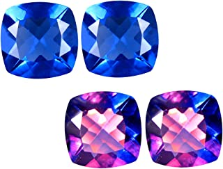 Deluxe Gems 5.03 ct (2pcs) Matching Pair 8 mm Cushion Cut Color Change from Blue to Purplish Red Un-Heated Fluorite Natural Gemstone