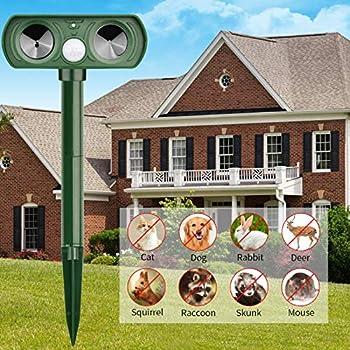Lubatis Ultrasonic Animal Repeller Solar Powered Cat Repellent Waterproof Motion Sensor Activated Deterrent Chaser Protect Farm Garden Yard