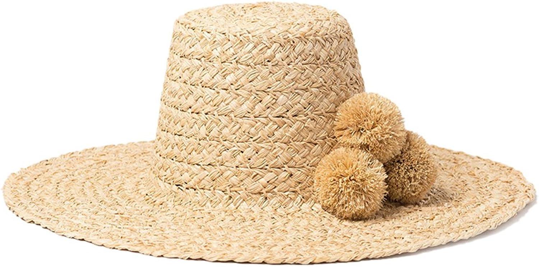 Nafanio Womens HandMade Hat Lafite High Top Hair Ball Beach Hat