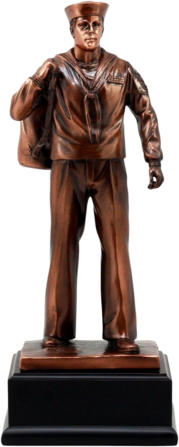 Men Of Duty Decorated Sailor Navy Officer Homecoming Bronze Electroplated Figurine Statue For Veteran and Military Personel Gift For Navy Coast Guard