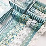 SWECOMZE 10 Rollen Washi Tape Set,Dekoratives Klebeband,DIY Papier Tape,Kollektion für Bastler,verschönert Journals,Karten und Scrapbooking (Blau)