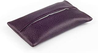 「Thing.Is」PU Leather Pocket Tissue Cover, Travel Tissue Holder for Purse, Portable Tissue Case, Tissue Pouch, Dark Purple