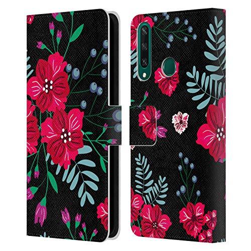 Head Case Designs Licenciado Oficialmente Haroulita Tríos Hermosas Flores oscuras Carcasa de Cuero Tipo Libro Compatible con Huawei Y6p