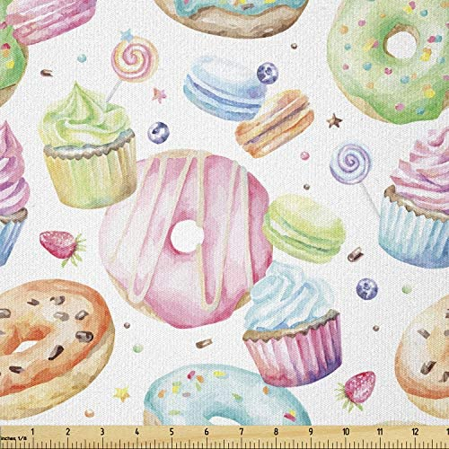Lunarable Sweets Fabric by The Yard Delicious Macaron Cupcakes Donuts Muffins Sugar Tasty Yummy product image