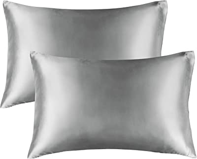BEDELITE Satin Pillowcase for Hair and Skin, Queen Pillow Cases Set of 2 Pack Super Soft Silky Grey Pillow Case with Envelope Closure (20x30 Inches)