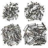 200 piezas de alfiler, broche de seguridad YuCool, broche de seguridad para proyectos de manualidades, corsés, broche de bricolaje, joyería y más - 4 tamaños (plata)