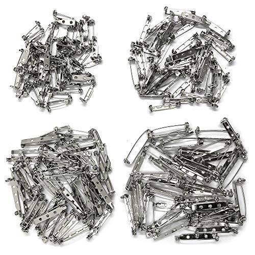 200 Stück Pin Backs, YuCool Brosche Pin Backs Sicherheitsverschluss Bar Pin für Bastel-Projekt Corsage DIY Brosche Schmuck und mehr 4 Größen (Silber)