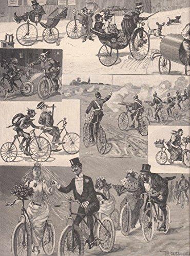 Radfahren/Radsport - Die Zukunft des Fahrrades. 6 humoristische Abbildungen auf einem Blatt. [Grafik]