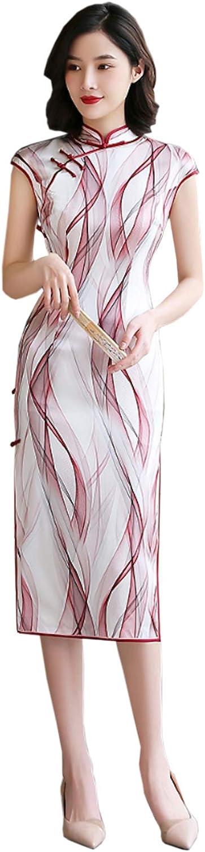 HangErFeng Qipao Dresses Silk Printed Fashion Elegance Slim Cheongsams